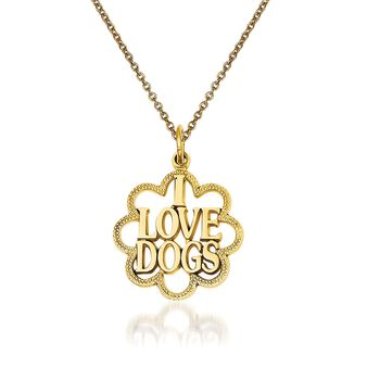 """14kt Yellow Gold I Love Dogs Pendant Necklace. 18"""", , default"""
