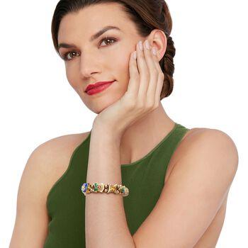 """C. 1990 Vintage Multi-Stone Floral Motif Slide Charm Bracelet in 14kt Gold. 7"""", , default"""