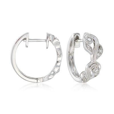 .14 ct. t.w. Diamond Floral Hoop Earrings in 18kt White Gold