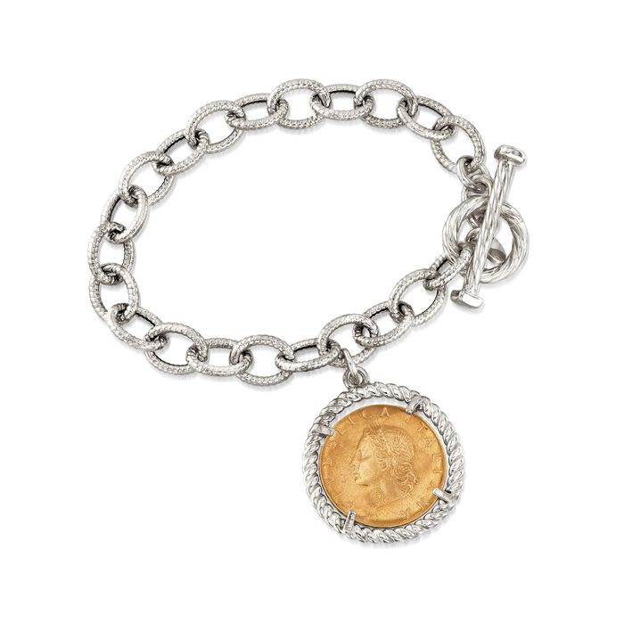 """Italian Two-Tone Sterling Silver Replica Lira Coin and Oval Link Toggle Bracelet. 7"""", , default"""