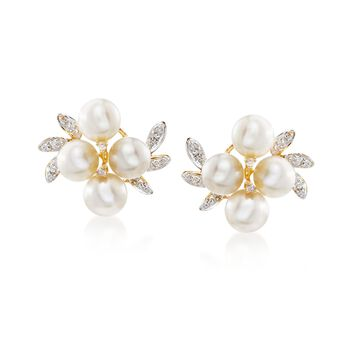 5.5-6mm Cultured Pearl Cluster Earrings With Diamond Accents in 14kt Yellow Gold , , default