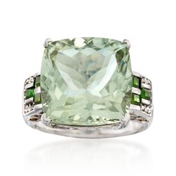 12.00 Carat Green Amethyst Ring With White Zircon and Green Chrome Diopside in Sterling Silver, , default