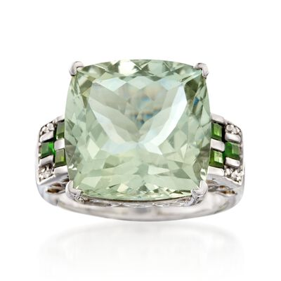 12.00 Carat Green Prasiolite Ring with White Zircon and Green Chrome Diopside in Sterling Silver, , default