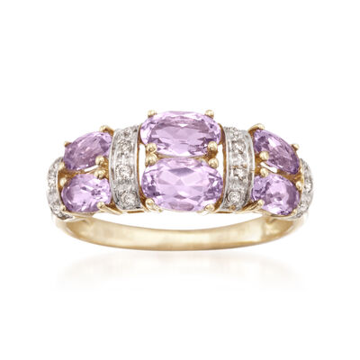 1.80 ct. t.w. Amethyst and .10 ct. t.w. Diamond Ring in 14kt Yellow Gold, , default