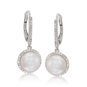 9mm Cultured Pearl and .40 ct. t.w. Diamond Earrings in 14kt White Gold, , default