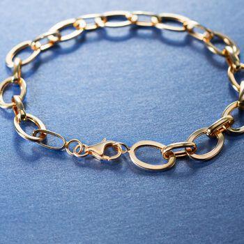 14kt Yellow Gold Flat Oval-Link Bracelet, , default