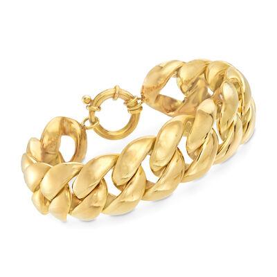 Italian 14kt Yellow Gold Round Link Bracelet, , default
