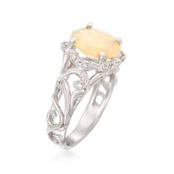 Opal and 2.10 ct. t.w. White Topaz Openwork Ring in Sterling Silver, , default