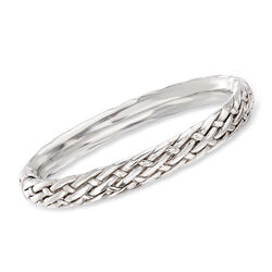 "Sterling Silver Basketweave Bangle Bracelet. 7.5"", , default"