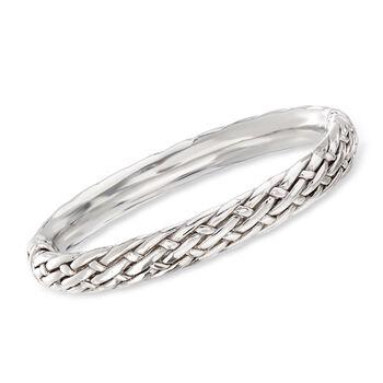 """Sterling Silver Basketweave Bangle Bracelet. 7.5"""", , default"""