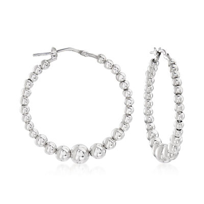 Italian Sterling Silver Beaded Hoop Earrings