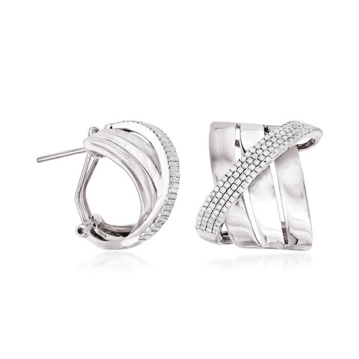 .90 ct. t.w. Diamond Sash Earrings in 14kt White Gold