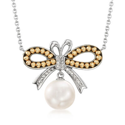 10.5-11mm Cultured Pearl and .62 ct. t.w. Diamond Bow Necklace in Sterling Silver and 14kt Yellow Gold, , default