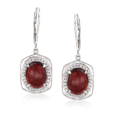 6.50 ct. t.w. Garnet and .22 ct. t.w. Diamond Drop Earrings in 14kt White Gold
