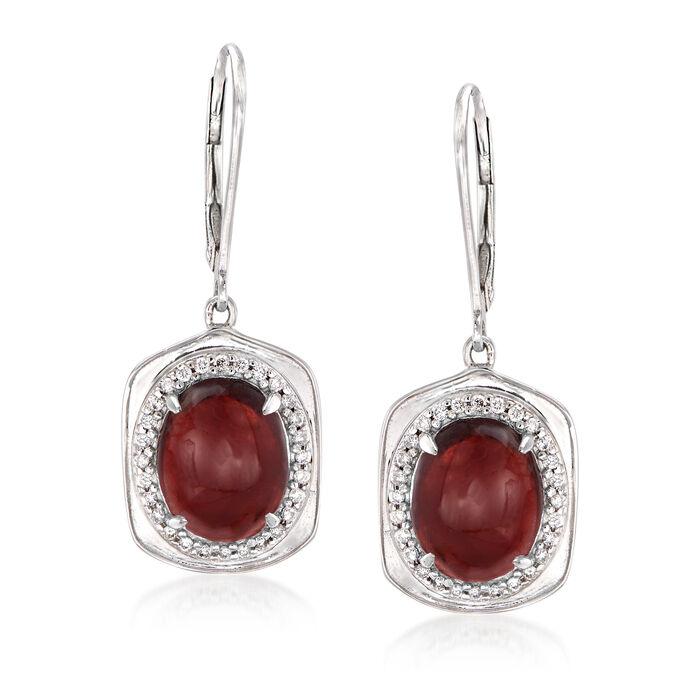 6.50 ct. t.w. Garnet and .22 ct. t.w. Diamond Drop Earrings in 14kt White Gold, , default