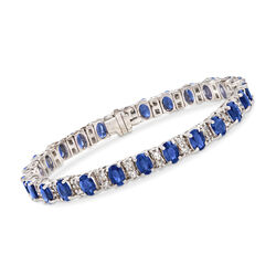 14.00 ct. t.w. Sapphire and 2.25 ct. t.w. Diamond Bracelet in 14kt White Gold, , default