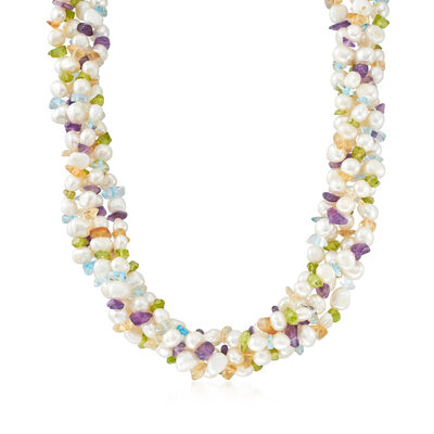 5-8mm Cultured Pearl and Multi-Gemstone Torsade Necklace with Sterling Silver, , default
