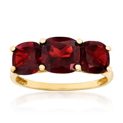 3.70 ct. t.w. Garnet Three-Stone Ring in 14kt Yellow Gold, , default