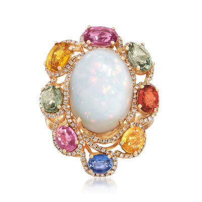 Opal and 3.95 ct. t.w. Multicolored Multi-Stone Ring in 18kt Yellow Gold, , default