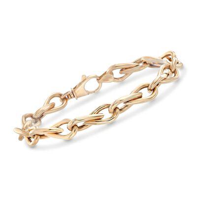 14kt Yellow Gold Teardrop-Link Bracelet, , default