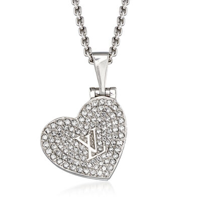 C. 2000 Vintage Louis Vuitton .80 ct. t.w. Diamond Heart Pendant Necklace in 18kt White Gold, , default