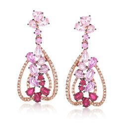 6.60 ct. t.w. Multi-Stone Drop Earrings in 18kt Rose Gold, , default