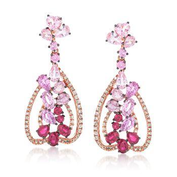 6.60 ct. t.w. Multi-Stone Drop Earrings in 18kt Rose Gold, , default