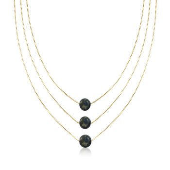 9-9.5mm Black Cultured Pearl Layered Three-Strand Necklace in 18kt Yellow Gold Over Sterling, , default