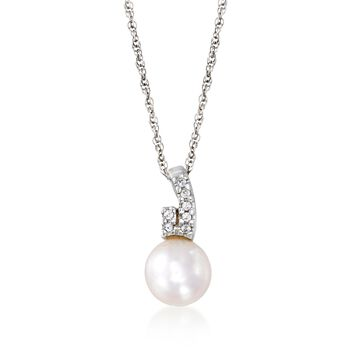 "C. 2000 Vintage 9mm Cultured Pearl and .10 ct. t.w. White Topaz Pendant Necklace in 10kt and 14kt Gold. 18"", , default"