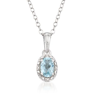 .50 Carat Oval Aquamarine Pendant Necklace with Diamond Accents in Sterling Silver, , default