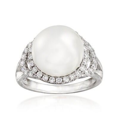 11.5-12mm Cultured South Sea Pearl and .48 ct. t.w. Diamond Ring in 18kt White Gold, , default