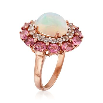Opal and 2.10 ct. t.w. Multi-Stone Ring in 14kt Rose Gold Over Sterling, , default