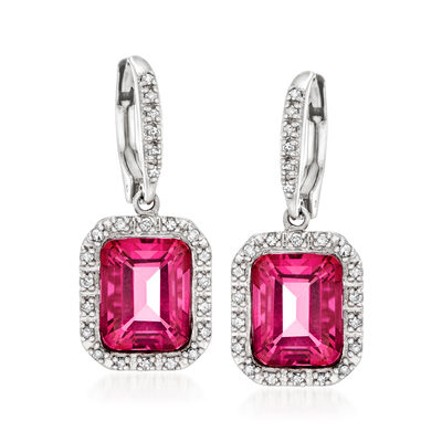 6.50 ct. t.w. Pink Topaz and .36 ct. t.w. Diamond Frame Drop Earrings in Sterling Silver
