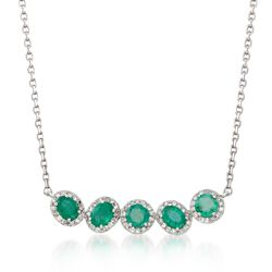 .70 ct. t.w. Emerald and .21 ct. t.w. Diamond Curved Bar Necklace in 14kt White Gold , , default