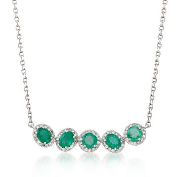 """.70 ct. t.w. Emerald and .21 ct. t.w. Diamond Curved Bar Necklace in 14kt White Gold. 18"""", , default"""