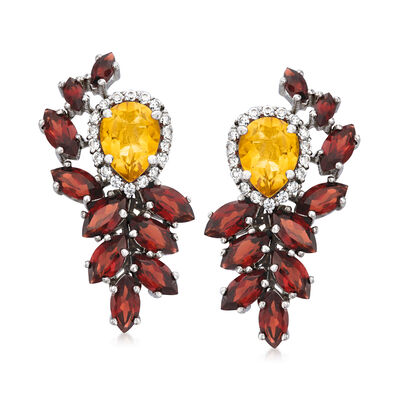 1.80 ct. t.w. Citrine and 5.20 ct. t.w. Garnet Drop Earrings with .40 ct. t.w. White Zircon in Sterling Silver