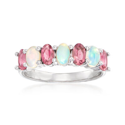 Opal and .90 ct. t.w. Pink Tourmaline Ring in Sterling Silver