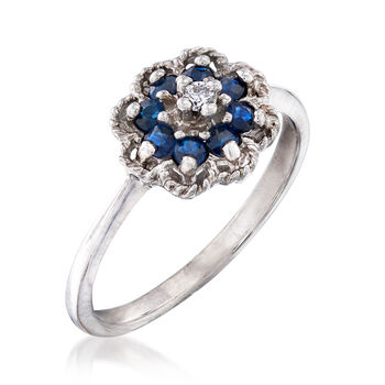 C. 1970 Vintage .24 ct. t.w. Sapphire Flower Ring with Diamond Accent in 10kt White Gold. Size 6