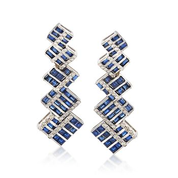 C. 2000 Vintage 8.00 ct. t.w. Sapphire and 2.00 ct. t.w. Diamond Geometric Drop Earrings in 18kt White Gold , , default