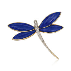 Lapis Dragonfly Pin With Diamond Accents in 14kt Yellow Gold, , default