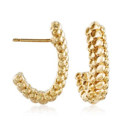 14kt Yellow Gold Beaded J-Hoop Earrings, , default