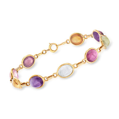 C. 1970 Vintage 10x8mm Mixed Gemstone Bracelet in 14kt Yellow Gold, , default