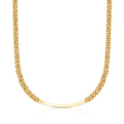 "Italian 18kt Gold Over Sterling Byzantine Curved Bar Necklace. 18"", , default"