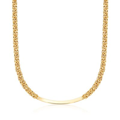 Italian 18kt Gold Over Sterling Byzantine Curved Bar Necklace, , default