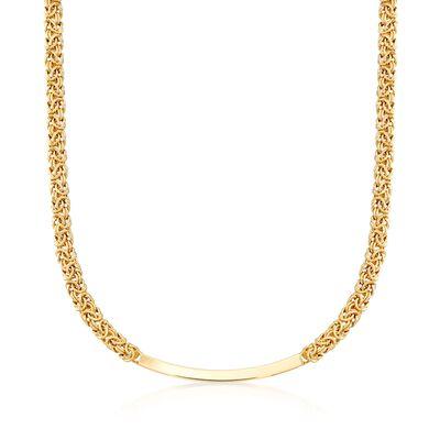 Italian 18kt Gold Over Sterling Byzantine Curved Bar Necklace, , default