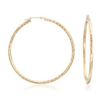 """14kt Yellow Gold Diamond-Cut Hoop Earrings. 2"""", , default"""