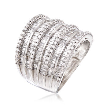 2.70 ct. t.w. Baguette and Round Diamond Multi-Row Ring in 14kt White Gold. Size 7.5, , default