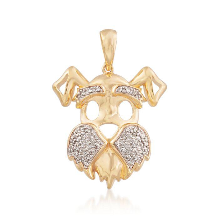 .10 ct. t.w. Diamond Scottie Dog Pendant in 18kt Gold Over Sterling, , default