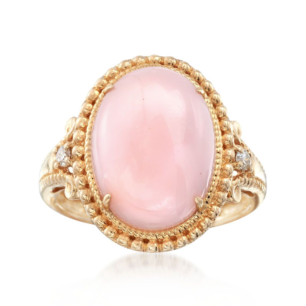 Pink Opal Ring With Diamond Accents in 14kt Yellow Gold | Ross Simons
