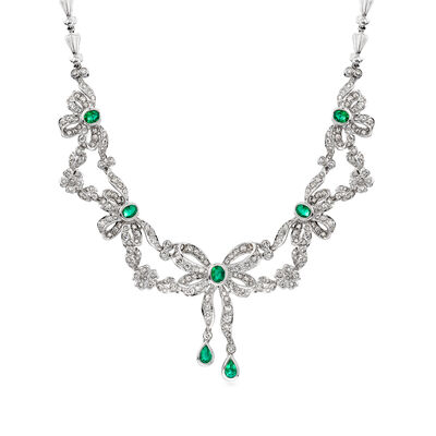 C. 1980 Vintage 6.00 ct. t.w. Diamond and 2.05 ct. t.w. Emerald Bow Necklace in 18kt White Gold